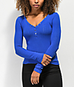 Almost Famous Sandra Rib Solid Cobalt Henley Top