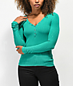 Almost Famous Sandra Rib Solid Jade Henley Top