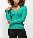 Almost Famous Sandra camiseta verde de manga larga