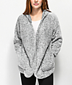 Almost Famous Sherpa Grey Hooded Cardigan