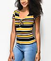 Almost Famous Taylor Striped Yellow Rouched Top