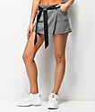 Almost Famous falda pantalón a cuadros con cinturón