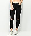 Almost Famous jeans pitillo negros deshilachados con cremalleras