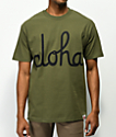 Aloha Army Logo Script Military Green T-Shirt