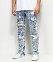American Stitch Acid Wash Paint Stripe Light Blue Jeans