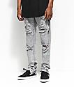 American Stitch Grey Acid Knee Ripped Denim Jeans
