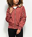 Angel Kiss Nika chaqueta bomber con capucha y pelaje rojo