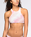 Billabong Todays Vibe top de bikini cuello alto con efecto tie dye