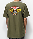 Bones Powell Peralta Winged Ripper Army Green T-Shirt