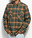 Brixton Archie Green & Gold Flannel Shirt