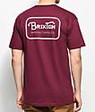 Brixton Grade camiseta en color borgoño