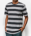 Brixton Hilt Black & Grey Striped T-Shirt