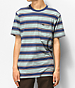 Brixton Hilt Blue & Orange Striped Knit Pocket T-Shirt