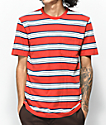 Brixton Hilt Red & Navy Stripe Knit T-Shirt