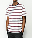 Brixton Hilt White, Red & Navy Striped Worn Washed T-Shirt