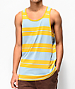 Brixton Hilt camiseta sin mangas de rayas doradas y azules
