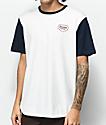 Brixton Novato Cream & Navy 2 Tone Henley T-Shirt