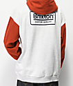 Brixton Palmer Grey & Henna Red Hoodie