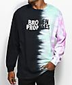 Broken Promises Wave Logo camiseta negra de manga larga con efecto tie dye