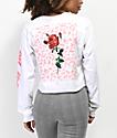 By Samii Ryan Let Me Go Leopard White Crop Long Sleeve T-Shirt