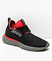 CU4TRO Bolt Black & Scarlet Knit Shoes