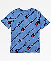 Champion Allover Script camiseta azul para niños