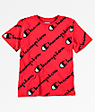 Champion Allover Script camiseta roja para niños