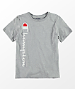 Champion Boys Vertical Script Grey T-Shirt