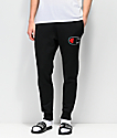 Champion Chenille Applique Black Sweatpants