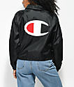 Champion Crop Black Coaches Jacket