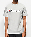 Champion Embroidered Heritage Script Grey T-Shirt