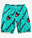 Champion Explode Script Teal Reverse Weave Shorts