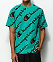 Champion Explode Script camiseta verde azulado