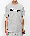 Champion Flock Script Grey & Blue T-Shirt