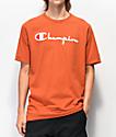 Champion Flock Script Orange T-Shirt