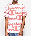 Champion Heritage Allover Script Coral & White T-Shirt