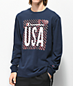 Champion Heritage USA Navy Long Sleeve T-Shirt