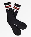 Champion Logo Black, White & Red Crew Socks