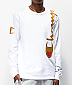 Champion Over Shoulder Logo White & Gold Long Sleeve T-Shirt