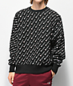 Champion Reverse Weave All Over Print Black Crew Neck Sweatshirt