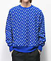 Champion Reverse Weave All Over Print Blue Crew Neck Sweatshirt