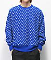 Champion Reverse Weave All Over Print sudadera azul con cuello redondo