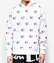 Champion Reverse Weave Allover Print C White Hoodie