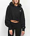 Champion Reverse Weave Black Crop Hoodie