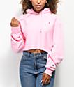 Champion Reverse Weave Pink Crop Hoodie