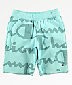 Champion Reverse Weave Script Green Sweat Shorts