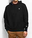 Champion Reverse Weave Small Logo Black Hoodie