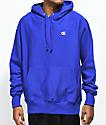 Champion Reverse Weave Small Logo Blue Hoodie
