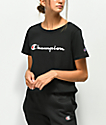 Champion Script Black Crop T-Shirt