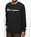 Champion Script Black Long Sleeve T-Shirt